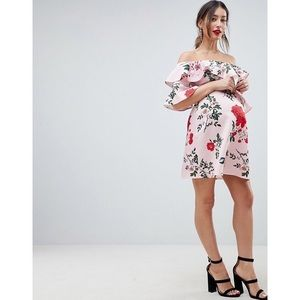 NWT ASOS MATERNITY FLORAL OFF THE SHOULDER DRESS
